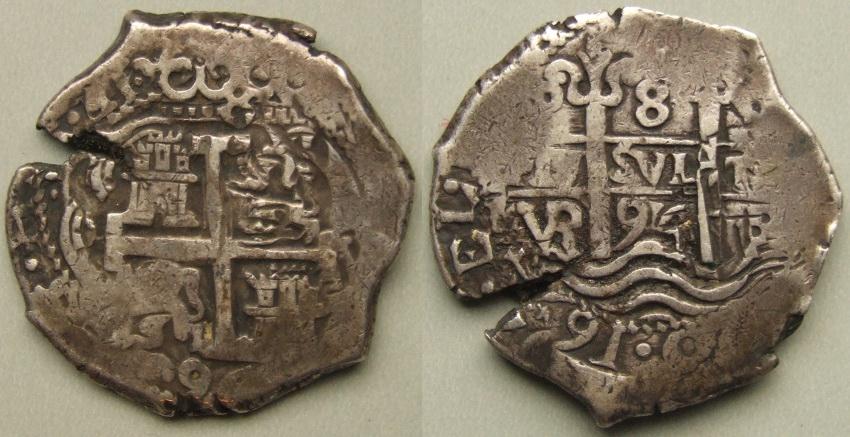 Potosi 1694 VR 8 Reales Colonial Cob