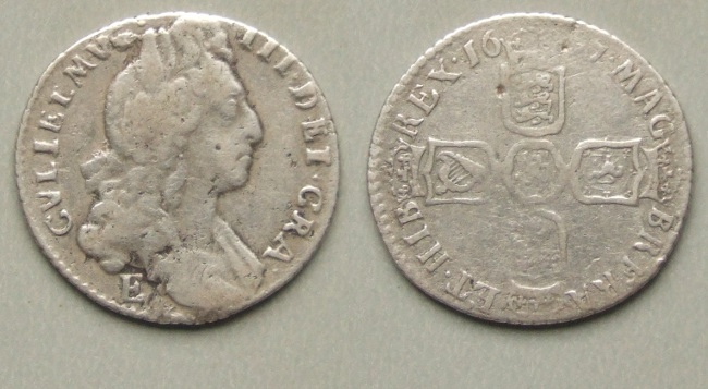 William III, 1697 Exeter sixpence