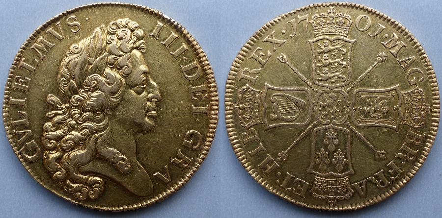 "William III, ""fine work"" 1701 gold five guineas"