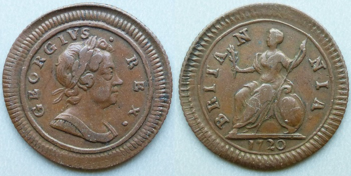 George I, 1720 grained edge farthing, thin flan, 1 of 2 known