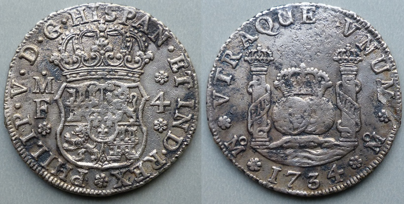 Philip V, 1734 MF 4 reales Mexico mint