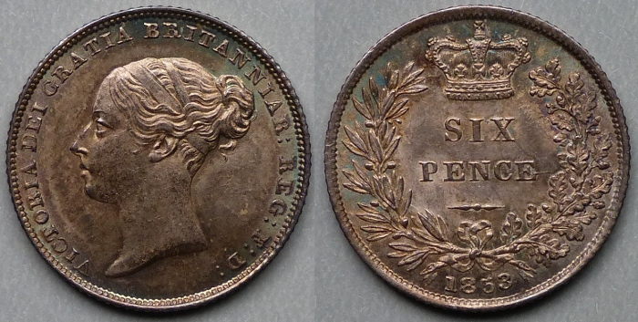 Queen Victoria, 1853 sixpence UNC