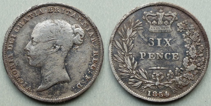 Queen Victoria, 1854 sixpence