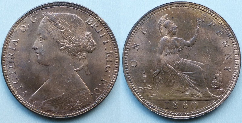 Queen Victoria, 1860 Penny N over sideways N in ONE