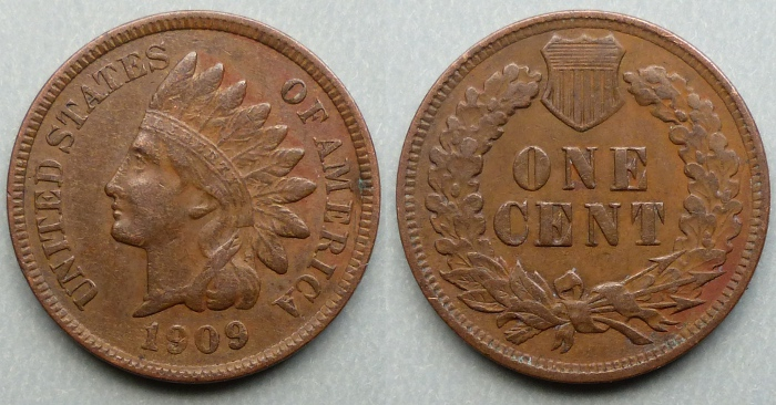 1909 Indian head cent / penny