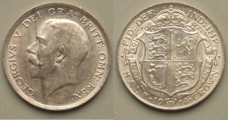 George V, 1914 halfcrown EF