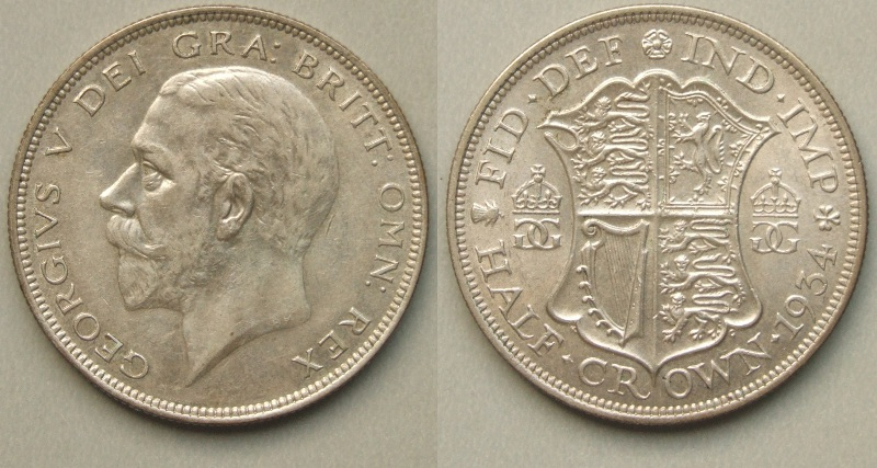 George V, 1934 halfcrown EF
