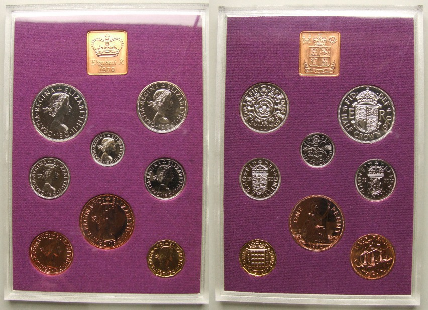 1970 proof coin set, the last pounds shilling & pence coins