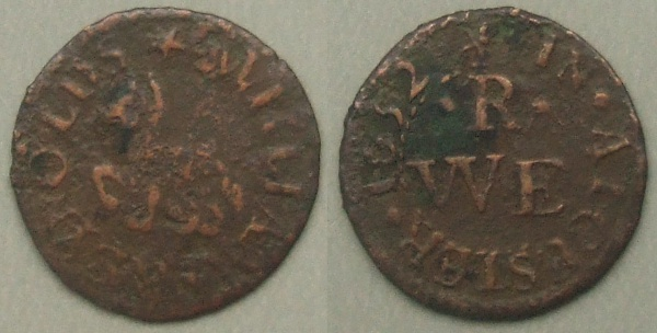 Alcester, William Reynolds 1652 token