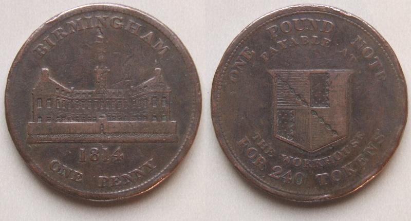 Birmingham Workhouse 1814 penny token