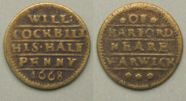 Barford, William Cockbill 1668 halfpenny token