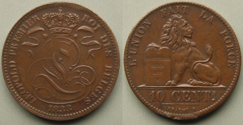 Leopold I, 1833 10 centimes