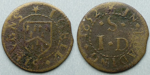 Reading, Joell Stevens 1652 farthing token