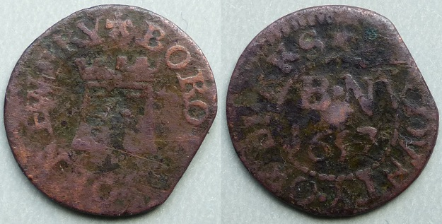 Newbury, Borough issue 1657 five turrets farthing N112
