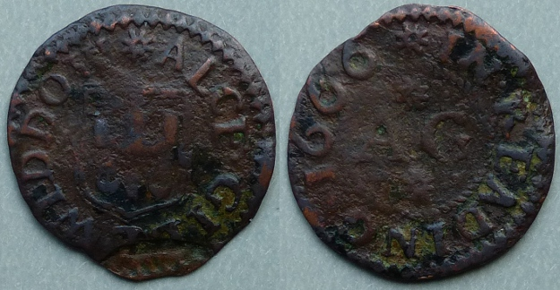 Reading, Alce Gill 1666 farthing