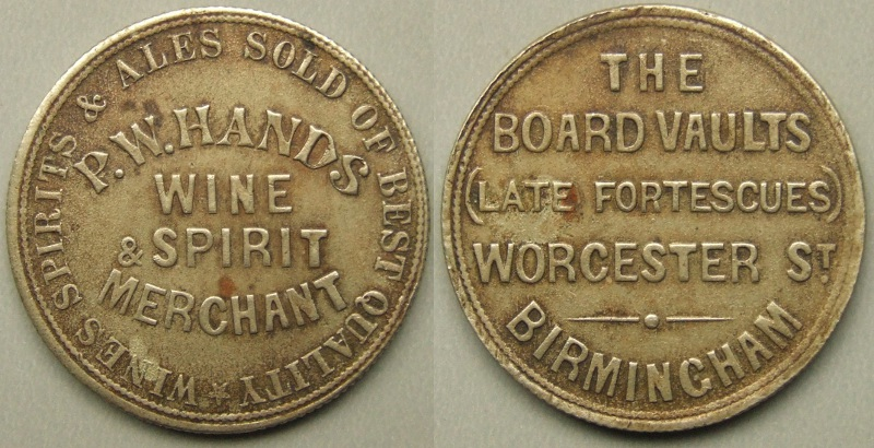 Birmingham, The Board Vaults (Late Fortescues) advertising token