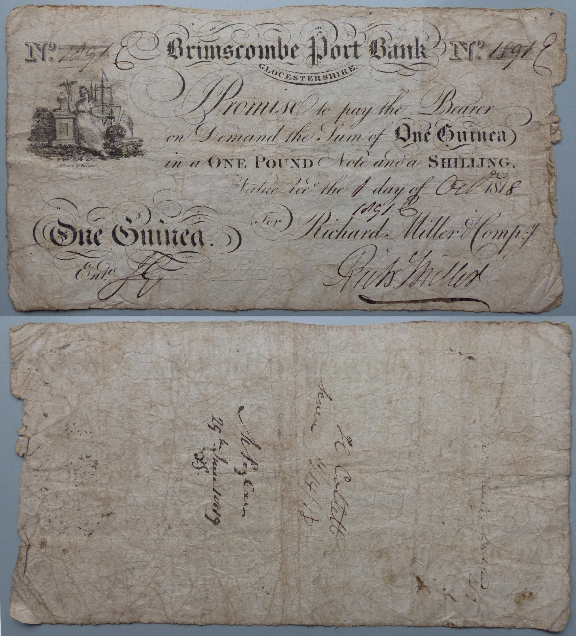 Brimscombe Port Bank, 1818 One Guinea Banknote