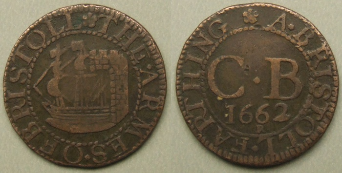 Bristol, city issue 1662 farthing N1515
