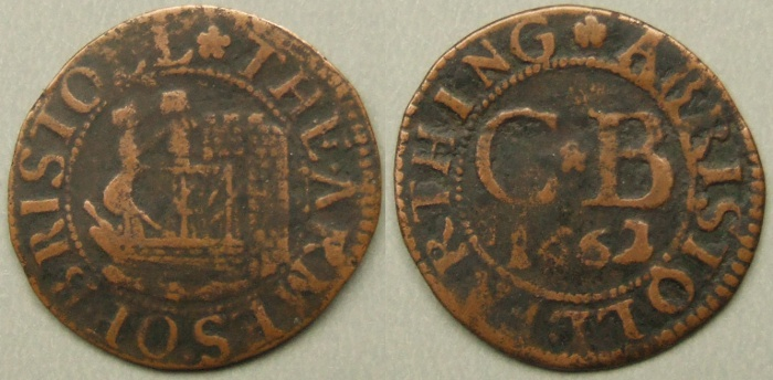 Bristol, city issue 1662 farthing N1568 , no R signature