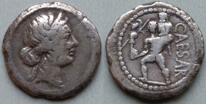 Julius Caesar denarius, lifetime issue.