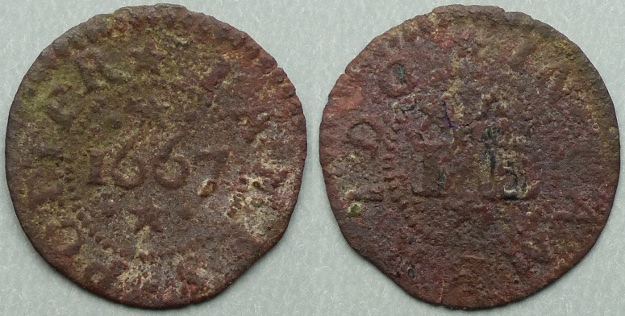 Cambridge, James Potter 1667 farthing