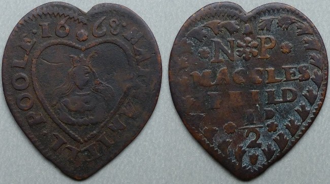 Macclesfield, Nathaniell Poole 1668 heart-shaped halfpenny - Click Image to Close