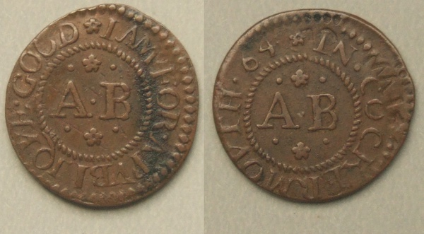 Cockermouth, Anthony Bouch 1664 farthing token
