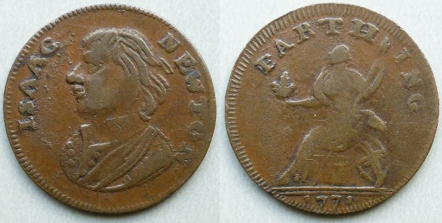 Isaac Newton farthing dated 1771