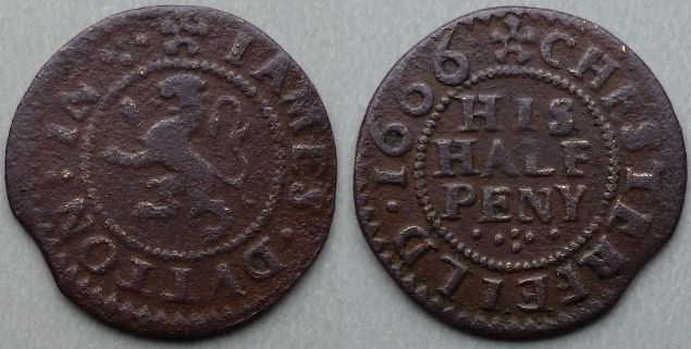 Chesterfield, James Dutton 1666 halfpenny