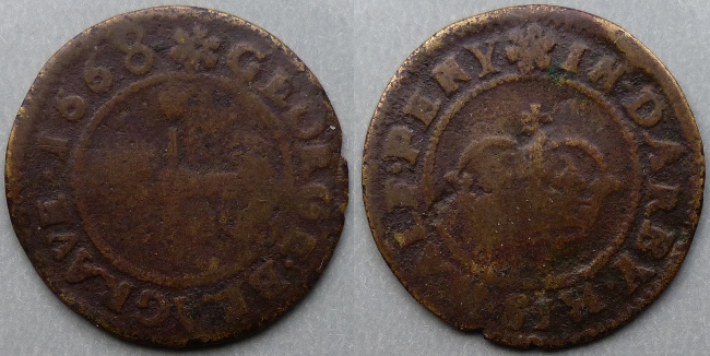 Derby, George Blagrave 1668 halfpenny