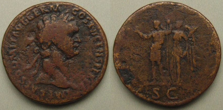 Domitian, sestertius, Domitian crowned by Victory