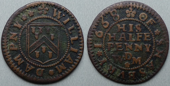 Shaftesbury, William Dampny 1668 halfpenny
