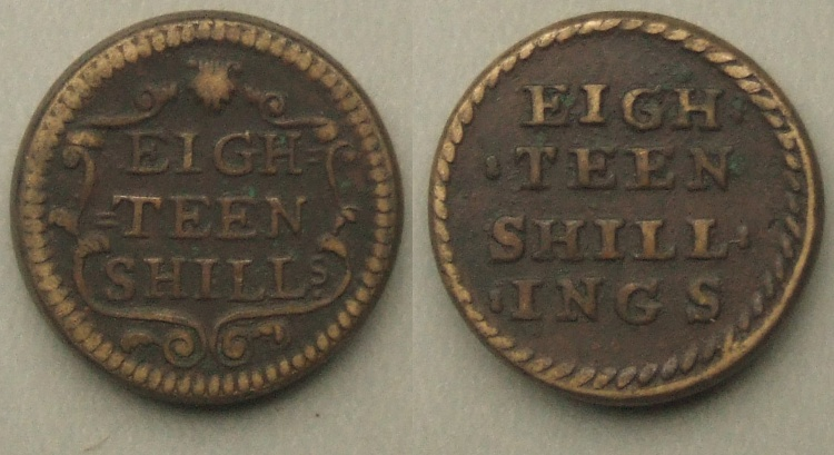 Eighteen Shillings or Half Joe coinweight