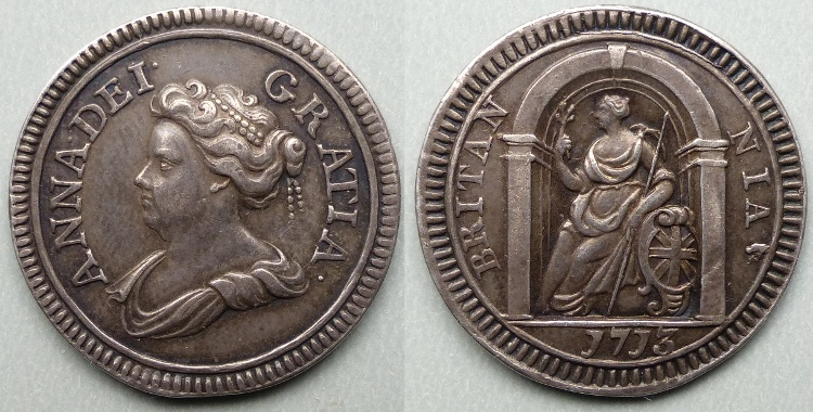 Queen Anne, 1713 silver pattern farthing P755