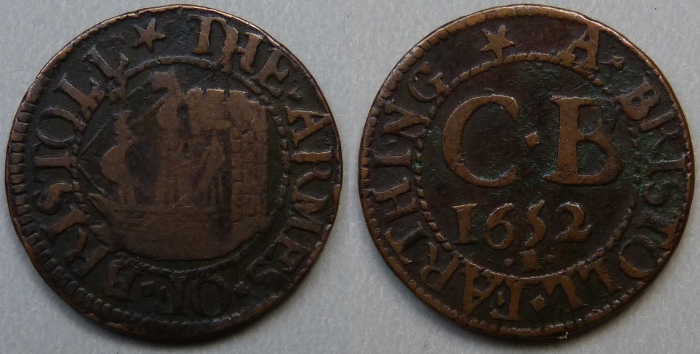 Bristol, city issue 1652 farthing N1483