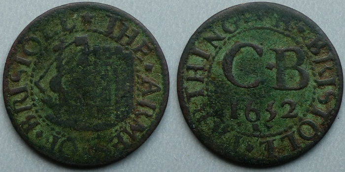 Bristol, city issue 1652 farthing N1491