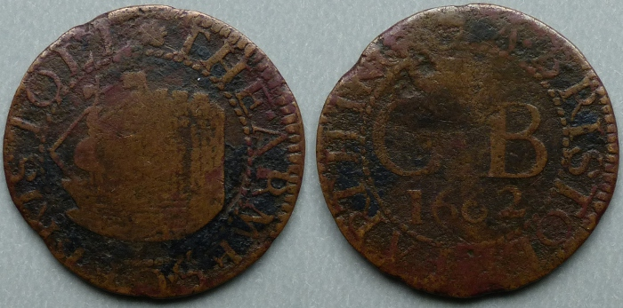 Bristol, city issue 1662 farthing N1514