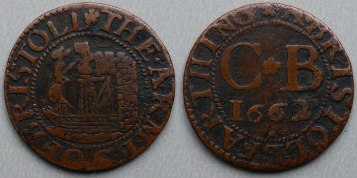 Bristol, city issue 1662 farthing N1573
