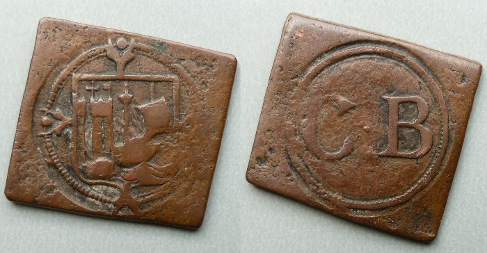 Bristol, city issue square farthing token c.1578 - 83