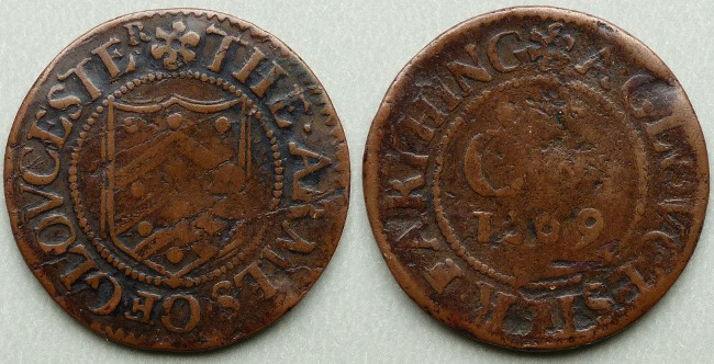 Gloucester, city issue 1669 farthing N1659
