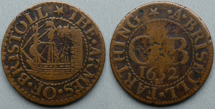 Bristol, city issue 1652 farthing N1460