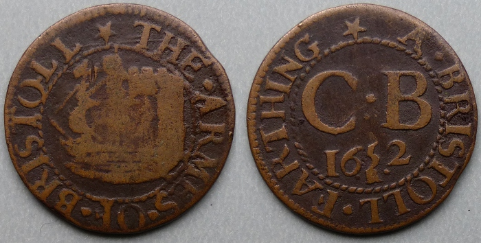 Bristol, city issue 1652 farthing N1467T