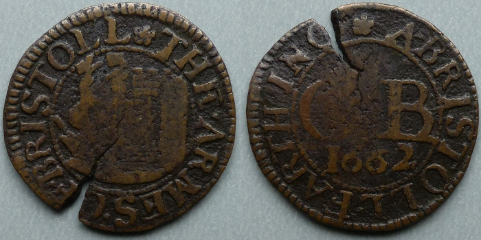 Bristol, city issue 1662 farthing N1562 , no R signature