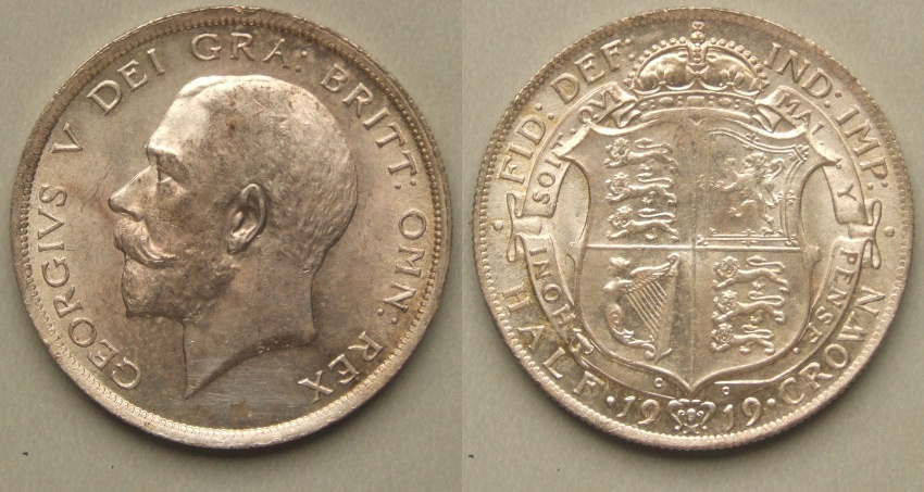 George V, 1919 Halfcrown GEF