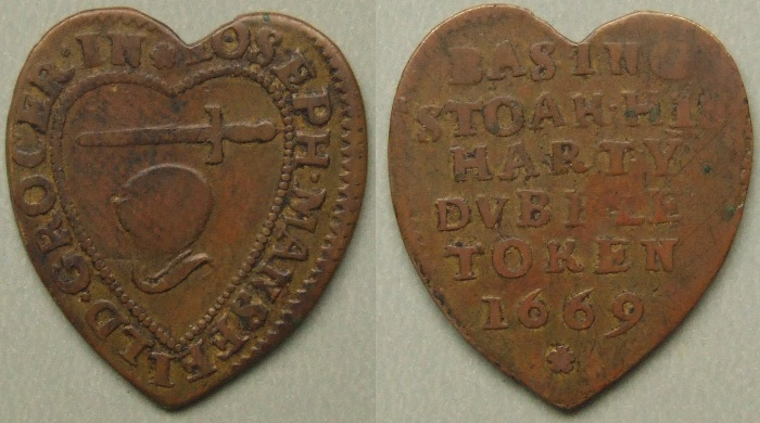 Basingstoke, Joseph Mansfeild heart-shaped 1669 halfpenny
