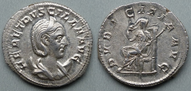 Herennia Etruscilla, AR antoninianus, Pudicitia enthroned left