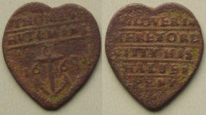 Hereford, Thomas Hutchins 1668 heart-shaped halfpenny