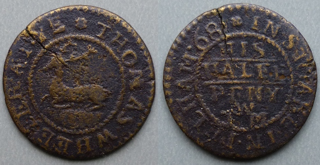Stocking Pelham, Thomas Wheeler 1668 halfpenny