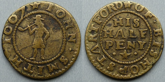 Bishops Stortford, John Smith 1667 halfpenny