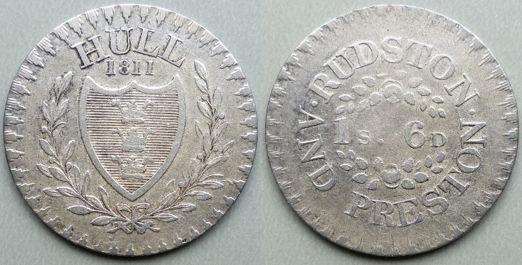 Hull, 1811 Rudston & Preston one shilling & sixpence